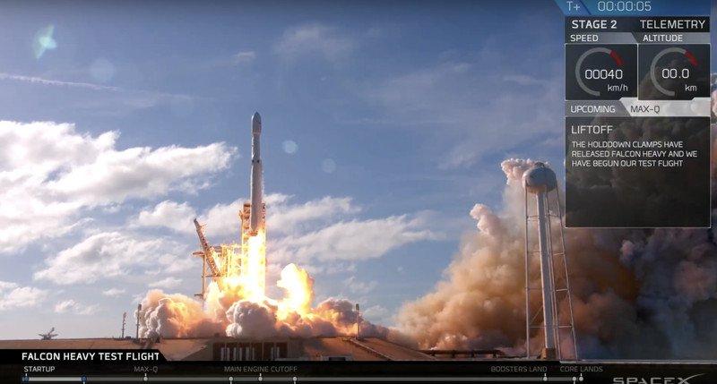 SpaceX успешно запустила сверхтяжелую ракету Falcon Heavy