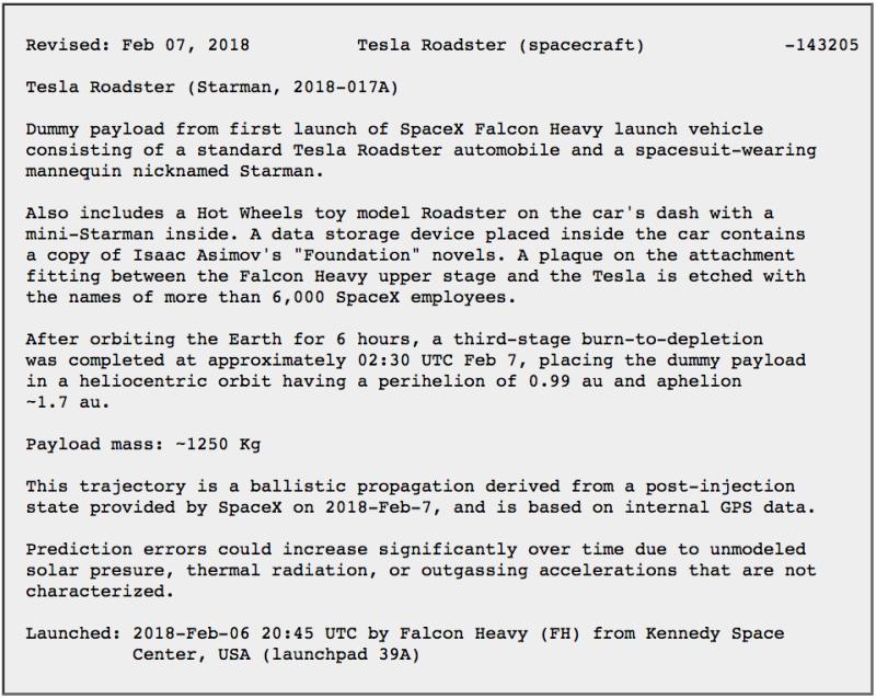 NASA официально зарегистрировало автомобиль Илона Маска как астрономический объект