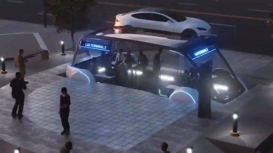 Маск представил концепт скоростного подземного электробуса