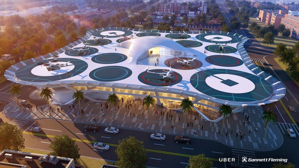 Архитекторы спроектировали шесть остановок будущего для летающих Uber