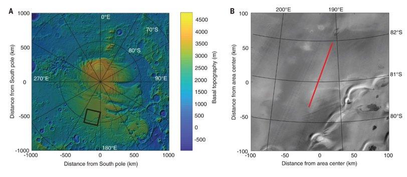 Под Южным полюсом Марса нашли озеро с жидкой водой