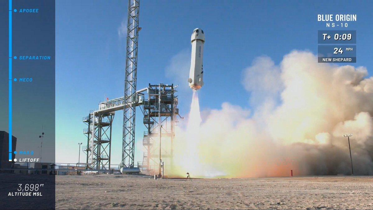 #видео   Первый в этом году успешный запуск ракеты New Shepard компании Blue Origin